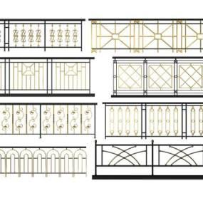 新中式金属栏杆组合3D模型【ID:336026351】