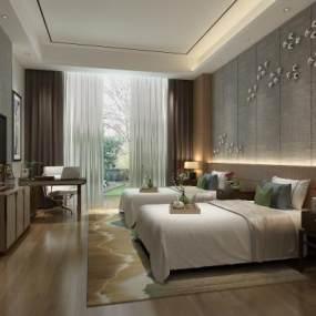新中式酒店客房 3D模型【ID:742296387】