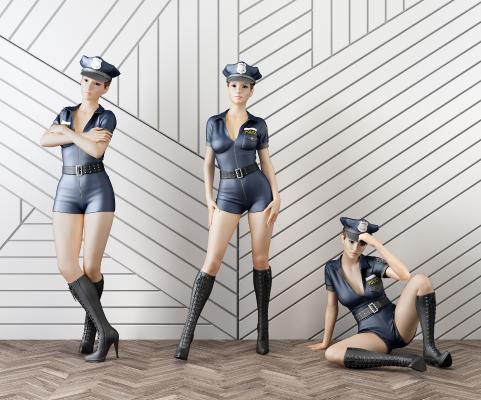 現代性感女警察模特人物3D模型【ID:342153087】