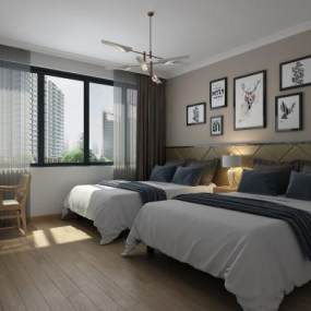 现代酒店客房 3D模型【ID:742285305】