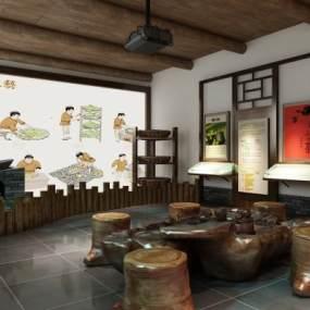 中式茶文化展馆3D模型【ID:932454779】