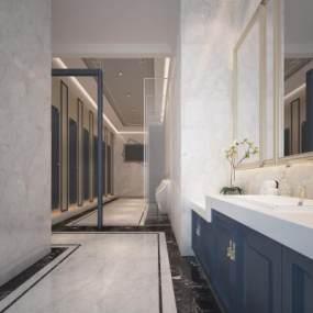 现代酒店公共卫生间3D模型【ID:444157130】