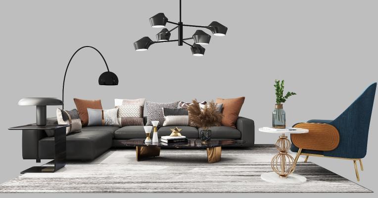 现代沙发组合3D模型【ID:647460780】