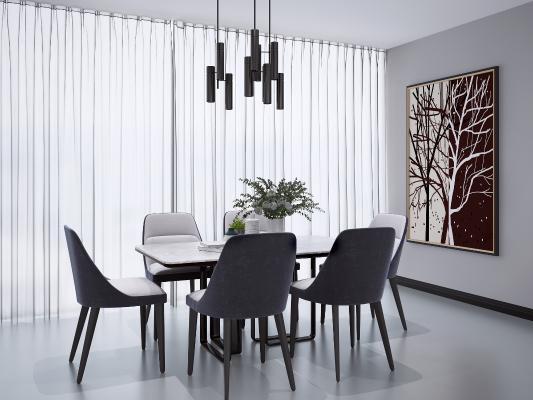 現代餐桌椅組合3D模型【ID:848154892】