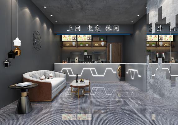 工业风网咖吧台3D模型【ID:750763963】