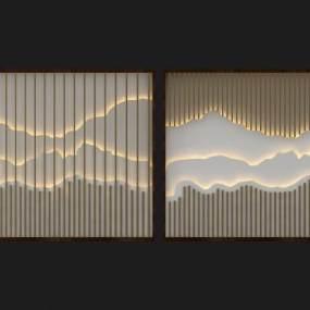 新中式山水背景墻3D模型【ID:134446453】