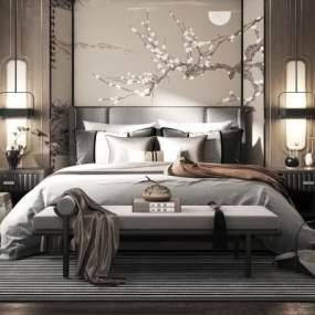 新中式双人床床头柜组合 3D模型【ID:842282751】