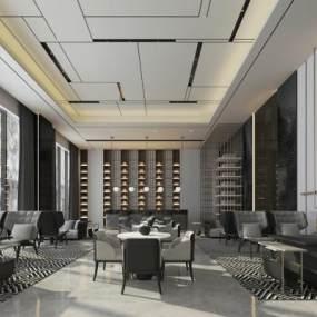 新中式酒店大堂接待区3D模型【ID:741773060】