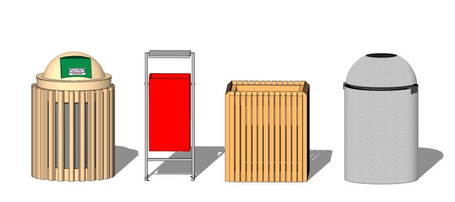 现代户外单桶垃圾箱SU模型【ID:650764628】