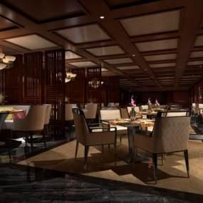 新中式中餐厅3D模型【ID:635435273】