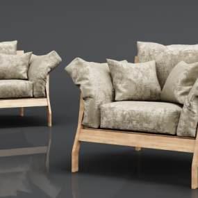 现代实木绒布沙发3D模型【ID:634854429】