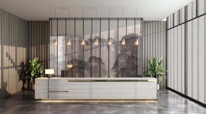 现代售楼处前厅3D模型【ID:952775241】