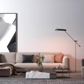 现代布艺沙发3D模型【ID:653904704】