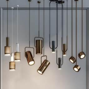 現代金屬裝飾吊燈組合3D模型【ID:746531872】