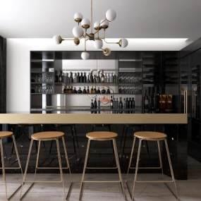 现代餐厅酒柜吧台吧椅组合3D模型【ID:530434192】