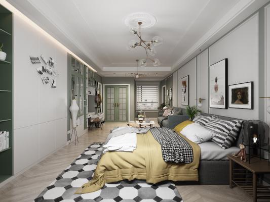北歐單身公寓3D模型【ID:549170271】