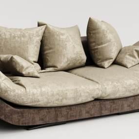 现代绒布沙发3D模型【ID:634444638】