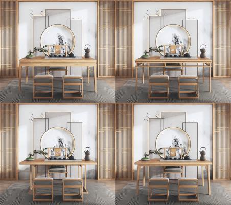 新中式茶桌组合3D模型【ID:946944547】