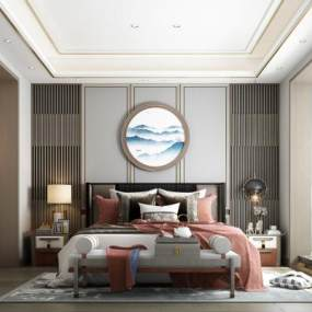 新中式卧室3D模型【ID:553364219】