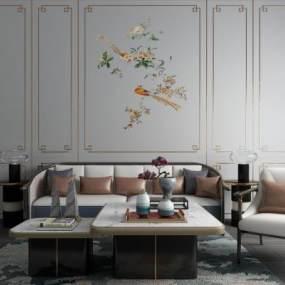 新中式沙发茶几背景墙组合 3D模型【ID:640928781】