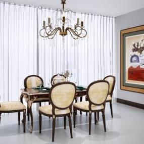 歐式古典餐桌椅組合3D模型【ID:846674828】