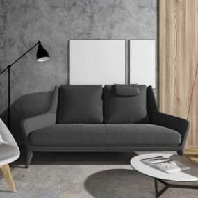 现代布艺双人沙发3D模型【ID:635780527】