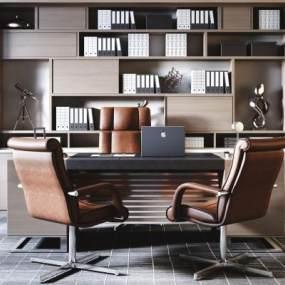 现代老板经理办公桌椅3D模型【ID:945242166】