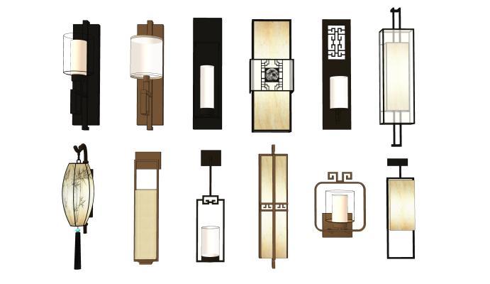 現代壁燈組合SU模型【ID:347854970】