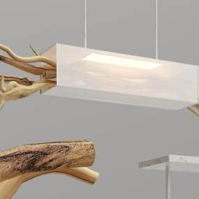 新中式实木吊灯3D模型【ID:733809831】