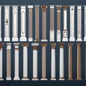 欧式金色罗马柱组合3D模型【ID:333365497】