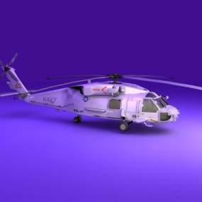 现代白色新式直升机3D模型【ID:448091975】