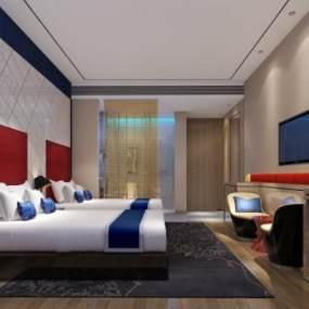 現代時尚酒店客房3D模型【ID:749134307】