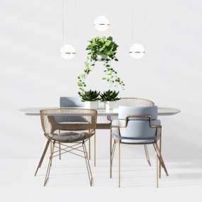 现代休闲金属桌椅 3D模型【ID:841309956】