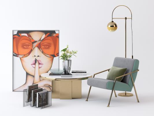现代休闲沙发 挂画