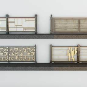 现代铁艺栏杆铁艺围栏3D模型【ID:343358367】