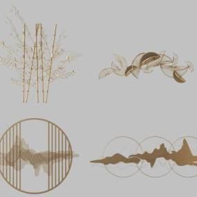 新中式金属墙饰挂饰挂件 3D模型【ID:241511748】