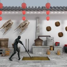 新中式酿酒作坊3D模型【ID:631313906】