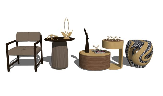 現代單椅茶幾邊幾組合SU模型【ID:147881899】
