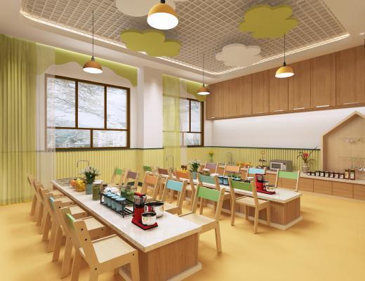 现代幼儿园烘焙室 儿童厨房 儿童娱乐室