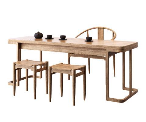 新中式原木茶桌椅凳組合3D模型【ID:745187720】