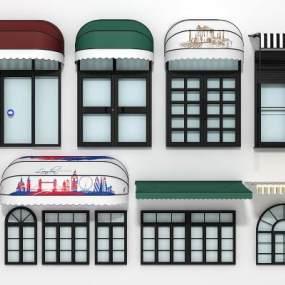 现代门窗伸缩遮阳雨棚组合3D模型【ID:333196139】