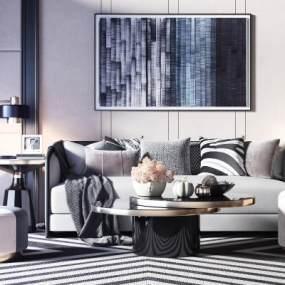 现代轻奢沙发茶几组合3D模型【ID:636004709】