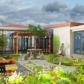 新中式庭院花园3D模型【ID:535941631】