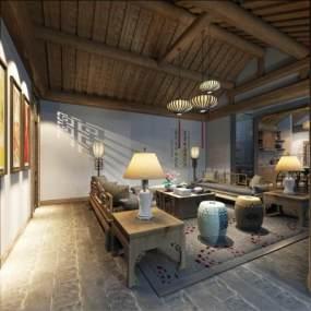 现代风格餐厅3D模型【ID:850835797】