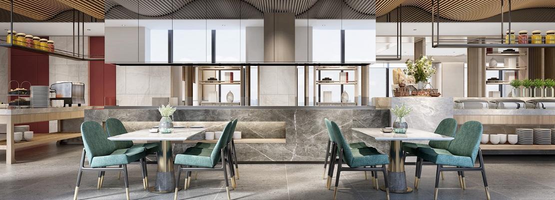 现代酒店餐厅3D模型【ID:753269267】