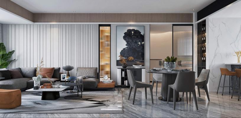 现代风格客厅餐厅3D模型【ID:553670015】