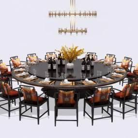 新中式酒店餐桌椅3D模型【ID:845529871】