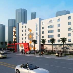 现代商业建筑外观3D模型【ID:135043674】
