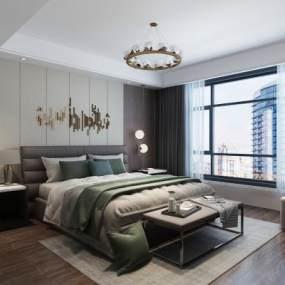 现代卧室3D模型【ID:548902295】