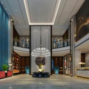 新中式酒店大堂3D模型【ID:753222056】